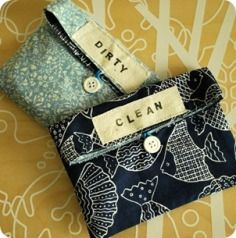 The Silly Pearl {Handmade}: Craft Tutorial: Reversible Reusable Clean/Dirty Bags Sewing Hacks, Sewing Tutorials, Sewing Crafts, Sewing Projects, Tutorial Sewing, Sewing Ideas, Easy Baby Blanket, Diy Bebe, Cloth Pads