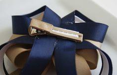 Boutique School Uniform Hair Bow Navy Blue Khaki by TenCowQuilts