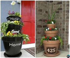 Front Porch Flower Tower Planter-20 DIY Porch Decorating Ideas Projects