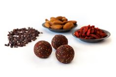 Raw bliss balls. Gluten, dairy and preservative free. INGREDIENTS: Almonds, Medjool Dates, Goji berries, Coconut, Cacao powder, Cacao Nibs, Coconut Oil, Chia Seeds www.smartsnacks.com.au Smart Snacks