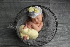 Newborn Baby Girl Upcycled Pants and Headband by KingsCloth, $25.50