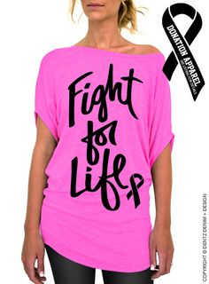 """Use coupon code """"pinterest"""" Fight For Life - Breast Cancer Awareness - Pink Longer Length Slouchy Tee (Small - Plus Sizes) by DentzDenim"""