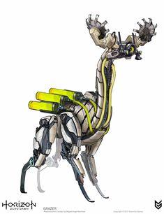 50 Horizon Zero Dawn Concept Art by Miguel Angel Martinez Concept Art World, Robot Concept Art, Game Concept Art, Horizon Zero Dawn Robot, Animal Robot, Armas Wallpaper, Mode Cyberpunk, Character Art, Character Design