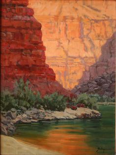 "Susie Hyer ""Red Cliffs Quiet Water"" 24"" x 18"" Oil on Linen"