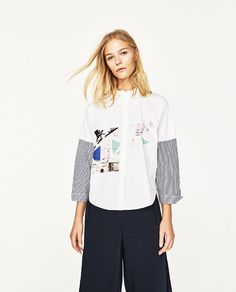 Image 1 of STRIPED SLEEVE SHIRT from Zara