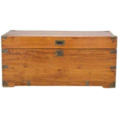 Antique Campaign Camphor Wood Chest, 19th Century | From a unique collection of antique and modern blanket chests at http://www.1stdibs.com/furniture/storage-case-pieces/blanket-chests/
