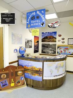 Amazing Wonders Aviation: VBS 2012 travel agency, from my official decorations blog post (including video tour!) =D