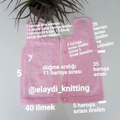 """Instagram'da REKLAM VE TANITIM ICIN DM..: """"Dün demiştim bugün için sayılarını vereceğimi yeleğim bitince.. 🌸 birazdan arka tarafında paylaşıcam.. 💗 yoğunluğum arasında ancak yeleği…"""" Baby Knitting Patterns, Free Knitting, Honest Diapers, Diaper Bouquet, Diy Crafts Knitting, Baby Kimono, Knitted Baby Clothes, Easy Face Masks, Baby Vest"""