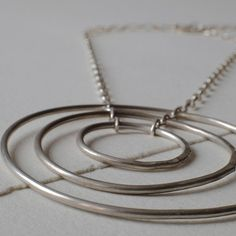 Huge karma necklace, Sterling Silver big round pendant, concentric circle pendent necklace, unique, adjustable choker, hammered circles