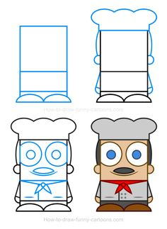 How to draw a chef
