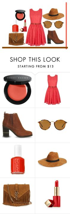 """Untitled #242"" by romi-kella on Polyvore featuring Bobbi Brown Cosmetics, Yumi, Office, Ray-Ban, Essie, Amici Accessories, Yves Saint Laurent and Estée Lauder"