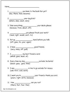 Second Grade Reading Worksheet 5 - Dolch