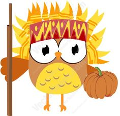 Orange And Yellow Feather Head Dress Wearing Owl Holding a Wooden Staff And A Pumpkin #american #arrows #autumn #blessing #canada #celebration #fall #family #feathers #food #harvest #headdress #holiday #indian #indigenous #monday #native #PDF #pumpkin #thanksgiving #thursday #tribal #U.S. #vectorgraphics #vectors #vectortoons #vectortoons.com