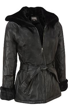 Ultimate hooded faux-shearling leather jacket, Wilsons Leather