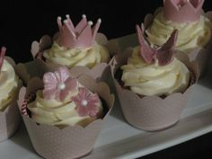 Cupcakes are ideal for showers and birthdays and if you think they are too casual for weddings, think again. They can be as elegant and eye catching as a traditional wedding cake. Traditional Wedding Cake, Beautiful Cupcakes, Wedding Cakes, Birthdays, Dress Up, Desserts, Girly, Feminine, Crown