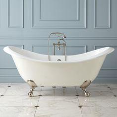 "71"" Gretta Cast Iron Double-Slipper Clawfoot Tub - Bathroom"