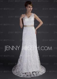 Sjöjungfru V-ringning Chapel-släp Charmeuse Spetsar Bröllopsklänningar med Spetsar Skärpband Pärlbrodering (002000171) - JennyJoseph