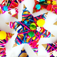 Yarn wrapped star Christmas ornament craft for kids