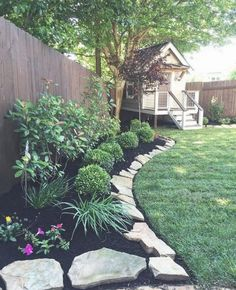 Beautiful Front Yard Rock Garden Landscaping Ideas - Page 57 of 60 58 + Schöne Vorgarten Rock Ga Cheap Landscaping Ideas, Small Backyard Landscaping, Landscaping With Rocks, Backyard Patio, Fence Ideas, Mulch Landscaping, Modern Backyard, Backyard Privacy, Sloped Backyard