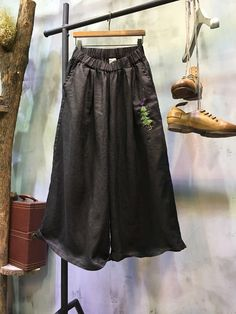 High-Quality Tree Embroidered Linen Palazzo Pants Causal Wide Leg Trousers    #black #embroidered #linen #casual #trousers #pants #loose