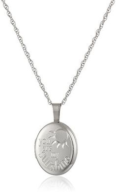 """Ladies' Sterling Silver Oval Pendant with """"You are My Sunshine"""" Locket Necklace, 18"""" * Be sure to check out this awesome product."""