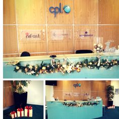 Our offices are getting ready for Christmas. This is the reception area in our Cork office. Isn't it lovely? The other offices now want light up presents! Light Up Presents, Cork City, Reception Areas, Offices, Photo Wall, Shapes, Frame, Christmas, Picture Frame