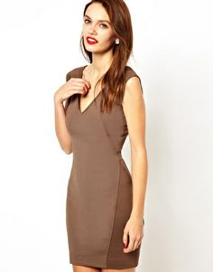 French Connection Bodycon Dress With Ribbed Pannels