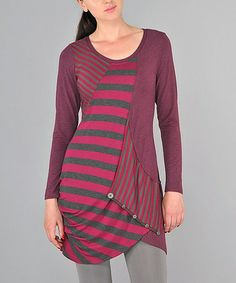 Look at this #zulilyfind! Purple Abstract Stripe Sidetail Tunic #zulilyfinds