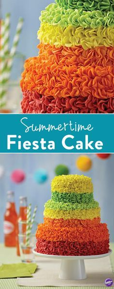 Learn how to make a fondant cake with this bright and festive Summertime Fiesta Cake! This 3-tier cake is decorated with bright and bold fondant embellishments, making this the perfect ending to a fabulous summer celebration! From backyard fiestas to large summer weddings, this summer dessert is well worth the time it takes to make it!