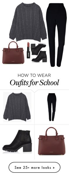 """School look #3"" by ggerasimenko on Polyvore featuring MANGO, Plakinger, Burberry and River Island"