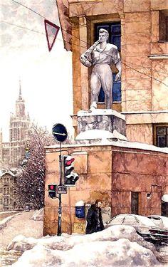 Яузский бульвар. Прогулка по Москве. Картины Алены Дергилевой