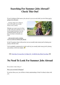 Checkout this awesome alternative to summer jobs abroad... Click the image.