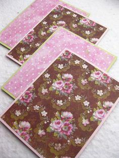 Greeting Cards Vintage Floral in Pink, Brown