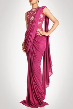 Neeti Bambs Drape #Saree With Floral Thread Motif And Sequin Embroidery.