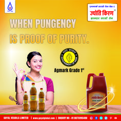 Jyoti Kiran - Pungent Mustard Oil.. Keeping in mind the Goyal Business Ethics to provide the best cooking medium, Goyal Vegoils Ltd. introduced the best quality Jyoti Kiran Pungent Mustard Oil, retaining the natural pungency of mustard.The Company's R&D developed 'Cold Screw Press Technology and put it to Commercial use First time in the History of Mustard Oil Production. The Innovation has proved very successful in extracting Mustard oil Best Cooking Oil, Oil Production, Mustard Oil, Business Ethics, Keep In Mind, First Time, Innovation, Commercial, Mindfulness