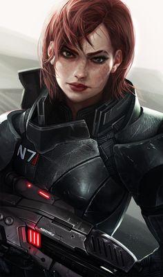 General fantasy art warrior futuristic gun Mass Effect Fem Shep Mass Effect Characters, Mass Effect Games, Mass Effect Art, Sci Fi Characters, Cyberpunk 2077, Mass Effect Tattoo, Mass Effect Universe, Commander Shepard, Dragon Age
