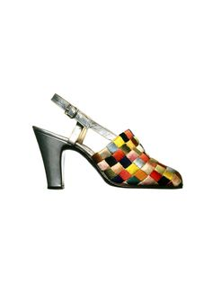 Ferragamo Sandal with upper  in multicoloured squares  embroidered on canvas, 1938.