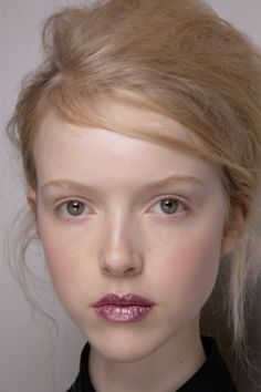 Flawless skin with a pop of glittery, glossy lips at Moschino Cheap & Chic Fall 2012-13 LFW