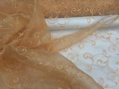 Gold embroidery tangier pattern floral flowers window voile net curtains organza voile curtain draping dress lace FABRIC - Per Metre