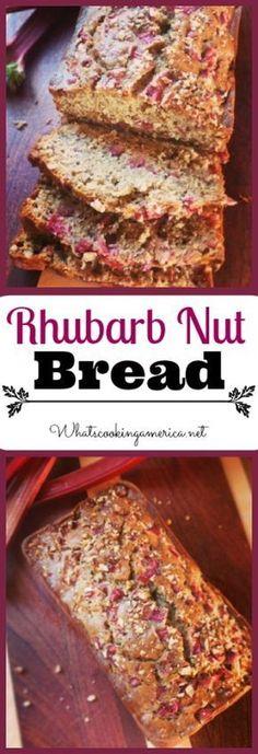 Rhubarb Nut Bread, Rhubarb Desserts, Just Desserts, Delicious Desserts, Yummy Food, Rhubarb Muffins, Rhubarb Rhubarb, Healthy Rhubarb Recipes, Rhubarb Meringue