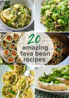 These 20 Fava Bean Recipes will inspire you to use these delicious, nutritious beans more often! Post includes how to cook them, grow them, choosing and storing, and nutrition benefits! #favabeans #springrecipes #broadbeans