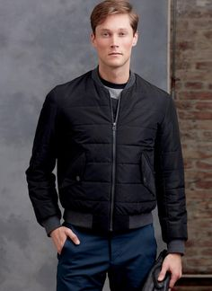 Stylish bomber jacket Ron Collins - Loose-fitting lined jacket features contrast collar and bands, welt pockets with flap, quilting detail, and front separating zipper closure Mens Sewing Patterns, Coat Pattern Sewing, Sewing Coat, Vogue Patterns, Coat Patterns, Cardigan Pattern, Jacket Pattern, Bomber Jacket, Men's Jacket