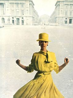 Christian Dior    Model Marisa Berenson is photographed in Paris by David Bailey,wearing a creation by Christian Dior.UK Vogue,March 1965.