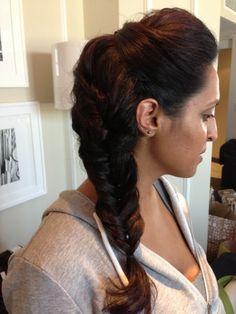 Front bump with side fish tail. Need long hair with not many layers for this one. Visit www.jewelhd.com for all of our hair styles!