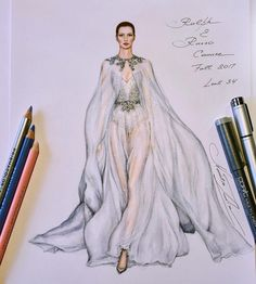 """798 Likes, 8 Comments - NataliaZ.Liu (@nataliazorinliu) on Instagram: """"My computer-free hand drawn (as always) illustration of the luxurious romantic wedding gown of the…"""""""