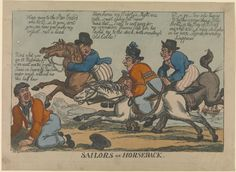 Sailors on horseback. (caricature) - National Maritime Museum