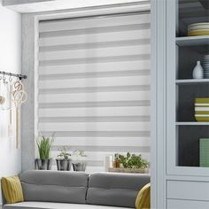 We challenge you here at Blinds to find a more sophisticated blind than this Enjoy Vision Luxe Grey roller. It really looks the part and on top of that it's endlessly practical. Zebra Blinds, Grey Roller Blinds, Curtains With Blinds, Blinds For Windows, Cortinas Rollers, Window Coverings, Home And Garden, Living Room, House