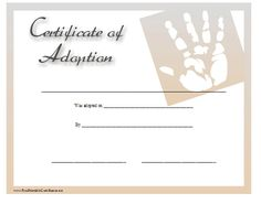this certificate of adoption is suitable for a baby boy or baby girl and displays a graphic of a handprint free to download and print