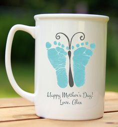 Butterfly Mug Handprint and footprint art for baby and kids. Send us your prints and we do the rest! Great gifts for moms and dads, grandparents, holidays and special occasions! www.myforeverprints.com