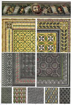 Roman Mosaic Floors    Frieze, floor and plate-mosaics, many originating in Pompeii